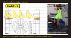 Quite easy. Draft a close fitting bodice block, shape the waist and create he princess panels. Next create the shape for the top which is seen in yellow. For the bottom a simple circle skirt