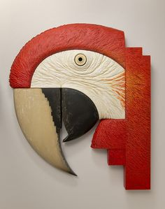 Scarlet Macaw John Morris Wood, Paint 55.5cm x 47cm $2500