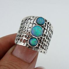 Stunning Handcrafted Sterling Silver Opal Ring size 7.5  (h 142b). $45.00, via Etsy.