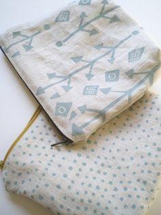 Dots on Linen, Hand Printed Linen,Zipper Pouch.