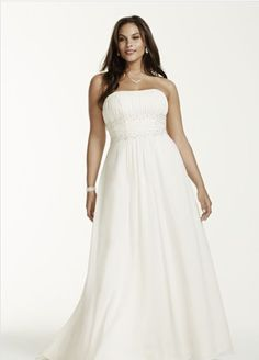 """<a href=""""http://www.davidsbridal.com/Product_chiffon-a-line-with-beaded-lace-on-empire-9v9743_wedding-dresses-plus-size-dresses"""" target=""""_blank"""">Chiffon A-Line with Beaded Lace on Empire</a>, David's Bridal"""