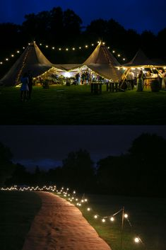 Giant hat tipis look amazing at night & festoon lighting is a must! Photo Credit: Country Tipis #WeddingLighting #WeddingIdeas #TipiWeddings #CountryTipis