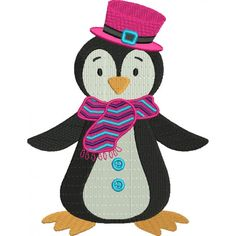 Penguin With a Big Hat Christmas Filled Machine Embroidery Digitized Design Pattern #christmas #embroidery #applique #penguin