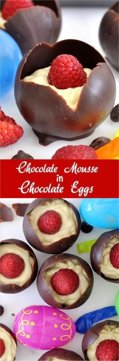Homemade Chocolate Eggs Filled with White Chocolate Mousse Unleash your sweet tooth with this sinfully rich white chocolate mousse served in a small homemade chocolate cup White Chocolate Mousse, Chocolate Cups, Homemade Chocolate, Chocolate Desserts, Individual Desserts, Sweet Desserts, Delicious Desserts, Elegant Desserts, Candy Recipes