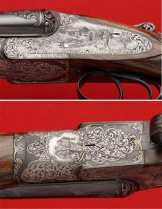 "The Gun Art of Master Engraver Lee Griffiths ""Optimizing"" or upgrading old doubles is a popular custom gun trend. Says Griffiths: ""Usually the gun is a lower grade to start with because the high grades have collector value in themselves."" He filled the unadorned receiver and sideplates of this field grade L.C. Smith with beautifully engraved upland hunting scenes with gold accents."