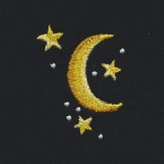 Gold Moon and Stars Simple Embroidery Designs, Hand Embroidery Patterns Free, Embroidery Stitches Tutorial, Embroidery On Clothes, Cute Embroidery, Vintage Embroidery, Broderie Anglaise Fabric, Diy Broderie, Creations