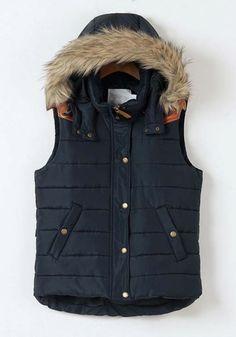 Blue Plain Band Collar Hooded Pockets Cotton Vest