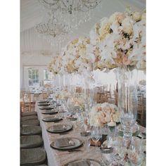 Viansa romantic glamour luxury wedding white pink peach silver gold cream taupe flowers glass mercury tall grand tent #nancyliuchin