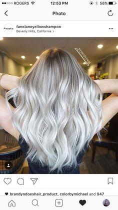 Platinum white blonde balayage ombre