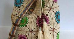 crochet bag with motifs squares Crochet Granny, Filet Crochet, Crochet Stitches, Crochet Handbags, Crochet Purses, Crochet Designs, Crochet Patterns, Ribbon Design, Irish Lace