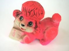 Vintage Pink Poodle Bank Dog Reading Love Book by retrowarehouse
