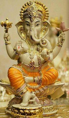 Make this Ganesha Chathurthi 2020 special with rituals and ceremonies. Lord Ganesha is a powerful god that removes Hurdles, grants Wealth, Knowledge & Wisdom. Shri Ganesh Images, Sri Ganesh, Ganesha Pictures, Lord Ganesha Paintings, Ganesha Art, Indian Gods, Indian Art, Ganesh Photo, Ganesh Wallpaper