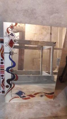 Glass Painting Designs, Paint Designs, Fancy Mirrors, Mirror Art, Glass Design, Glass Door, Ladder Decor, Wall, People