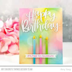 Stamps: Bitty Birthday Wishes  Die-namics: Happy Birthday Script, Skinny Strips ... #birthday #bitty #DieNamics #happy #namics #script #skinny #stamps #strips #wishes Birthday Greetings, Birthday Wishes, Birthday Cards, Birthday Images, Diy Birthday, Birthday Quotes, Rainbow Card, Rainbow Paper, Feelings