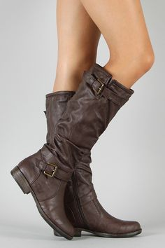 Bamboo Montage-02N Riding Buckle Knee High Boot  Want in black and dark brown:)