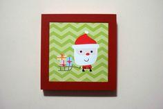 Quadro Papai Noel 20x20cm - moldura vermelha