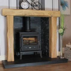 Most current Cost-Free Brick Fireplace with oak beam Suggestions Waney Edge Canterbury Rustic Solid Oak Beam Fireplace Oak Beam Fireplace, Distressed Fireplace, Inglenook Fireplace, Cast Iron Fireplace, Rustic Fireplaces, Fireplace Ideas, Fireplace Bookcase, Cabin Fireplace, Fireplace Update