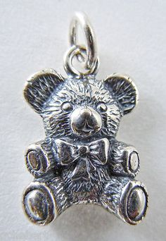 Sterling Silver .925 Antique Style Teddy Bear Oxidized Charm Pendant NEW