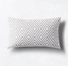 Bella Dura® Lido Diamond Pillow Cover - Granite Fur Pillow, Pillow Shams, Throw Pillow Covers, Lumbar Pillow, Sunbrella Pillows, Bed Pillows, Cover Gray, Restoration Hardware, Textile Design