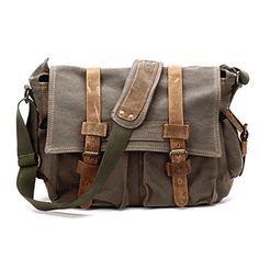 Vintage Herren CANVAS Umhängetasche Schultertasche Messenger Bag Crossbody Stoffbeutel CARRIE Brotbeutel