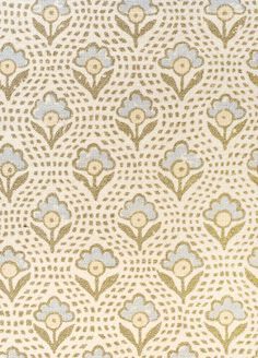 Speedwell Floral  linen Fabric Linen mix fabric with simple, small design floral motif In powder blue and pale yellow.