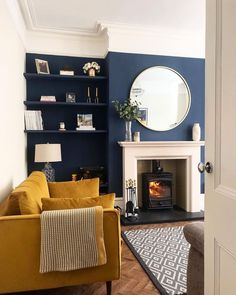 Victorian living room - The Ultimate Guide Perfect Vintage Living Room Design! Navy Living Rooms, Blue Living Room Decor, Living Room Color Schemes, New Living Room, Living Room Modern, Home And Living, Dark Blue Living Room, Blue And Mustard Living Room, Front Room Decor