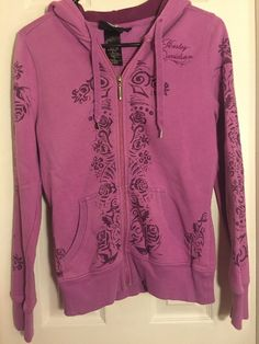 Harley Davidson Zip Up Hoodie Jacket Lt Purple Women's Ladies S | eBay