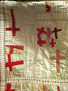 Close up of Red Cross Quilt