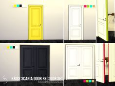 Created By k-omu Kriss Scania Door Recolor Set Created for: The Sims 4 A recolor of Kriss wonderful doors, Scania Traditional Double and Single. This set has two styles with several. The Sims, Sims 4 Mm, Sims 4 Seasons, Sims 4 Controls, Sims 4 Cc Furniture, Sims 4 Build, Sims 4 Houses, Apartment Layout, Sims 4 Update