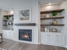 Hanson Builders New Homes For Sale - Minneapolis / St. Bookshelves Around Fireplace, Built In Around Fireplace, Fireplace Built Ins, Home Fireplace, Living Room With Fireplace, Fireplace Design, My Living Room, Shiplap Fireplace, Floating Shelves By Fireplace