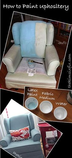 How to paint upholstery! Wow! This is amazing!  A great way to give life to a stained old chair.. without reupholstering it!   She uses Fabric Medium to keep the fibers soft! SO SMART!