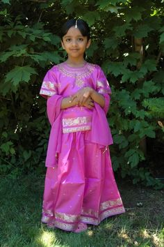 Indian kids outfits, South Indian pattu pavadai lehenga choli  for kids