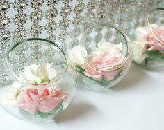 Bleu Glass Fountains / centros de mesa para boda