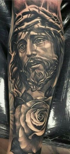 Jesus Tattoos - Tons of Jesus Tattoo Designs & Ideas - Tattoo Me Now Fake Tattoo, Grey Tattoo, I Tattoo, Forearm Tattoos, Body Art Tattoos, Sleeve Tattoos, Jesus Tattoo Sleeve, Badass Tattoos, Cool Tattoos