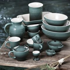 le creuset ocean | I wonder how much green is in this colour. I like it.