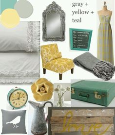 This is pretty much the color scheme in my apartment right now. Gray and yellow in my bedroom and the turquoise/aqua is in the entry way. I'd love to find some of those vibrant turquoise accessories - but I haven't taken the time to look. :-P I love it because it's fresh, lively, and understated. It's easy to add or take away from and it's livable.