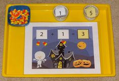 Halloween Montessori activities: Halloween addition game with candy corn manipulatives || Gift of Curiosity