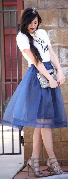 Chicwish Blue Organza Midi Tulle Skirt