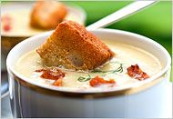 NYT Cooking: Green Tomato Soup With Bacon and Brioche Croutons Diabetic Recipes, New Recipes, Favorite Recipes, Veggie Recipes, Healthy Recipes, Green Tomato Recipes, Crouton Recipes, Pureed Soup, Brioche