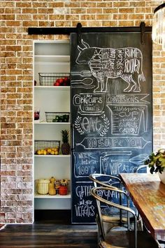 11 Ways to Decorate With Barn Doors Chalkboard Wall Kitchen, Kitchen Wall Art, Hanging Chalkboard, Chalkboard Walls, Farm Kitchen Ideas, Farmhouse Kitchen Decor, Farmhouse Chic, Diy Kitchen, 1970s Kitchen