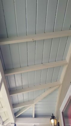 Haint porch ceiling in Behr's Beach Foam blue.