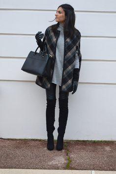 cape à carreaux zara tendance hiver 2015 cuissardes en daim talons