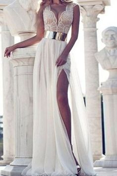 Chiffon Plunging Neck Sleeveless White Maxi Dress