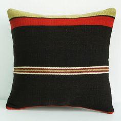 BIG SALE / Organic Shine Society Modern Bohemian Throw Pillow. Handwoven Wool Vintage Tribal Turkish Kilim Pillow Cover