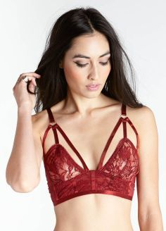Cutout Lace Bralette- Strappy mesh bralette featuring embroidered lace inset, adjustable straps, and adjustable hook and eye closures at back.