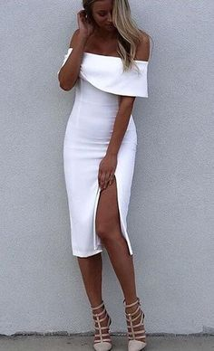 White Bodycon Dress Split Off-The-Shoulder Rayon Party Dress online fashion destination for dresses, tops, pants, swimwear, and more. Shop every trend online # Source by ootdfashionoutfits Bodycon Dresses Sexy Dresses, Cute Dresses, Beautiful Dresses, Evening Dresses, Short Dresses, Bandage Dresses, Midi Dresses, Party Dresses, Cute Summer Outfits