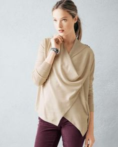 Lux Merino Zip-Shoulder Cardigan. LOVE this! Unusual style, great neutral colors.