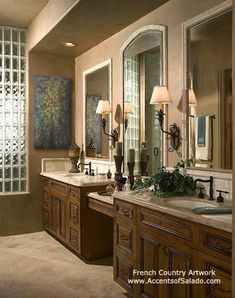 French Country Bathroom....like the 3 mirrors framed instead of 1 big one.