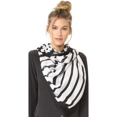 Kate Spade New York Piano Keys Oblong Scarf ($118) ❤ liked on Polyvore featuring accessories, scarves, long shawl, patterned scarves, kate spade scarves, print scarves and long scarves