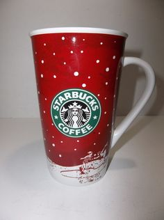 Starbucks LOGO Coffee MUG 16 Ounce HOLIDAY 2007 ICE SKATERS RED And WHITE